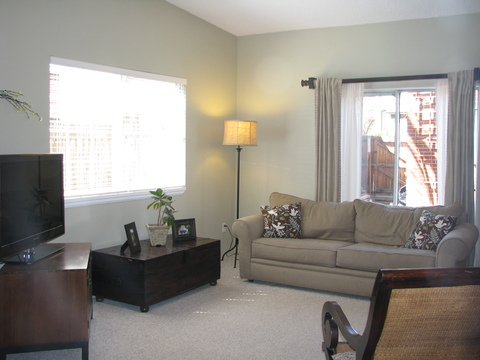 Spacious family room with vaulted ceiling and skylights