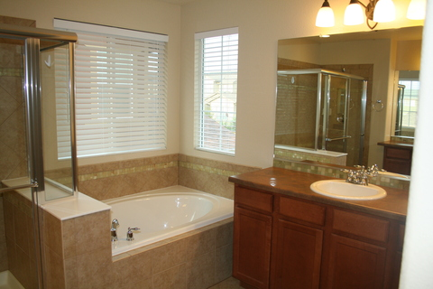 Master bath with separate sinks, full sized tub and shower