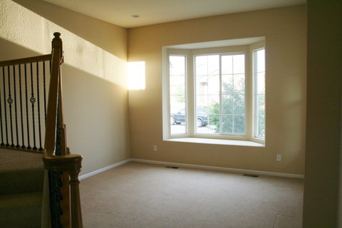 Light and bright living room with bay window