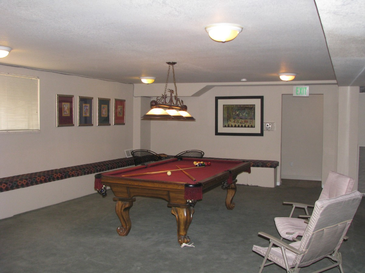 Condo Club room has pool table. There is also a sauna