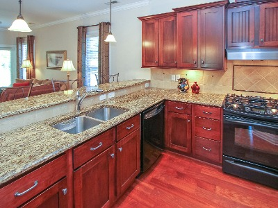 Granite countertops, tile backsplash