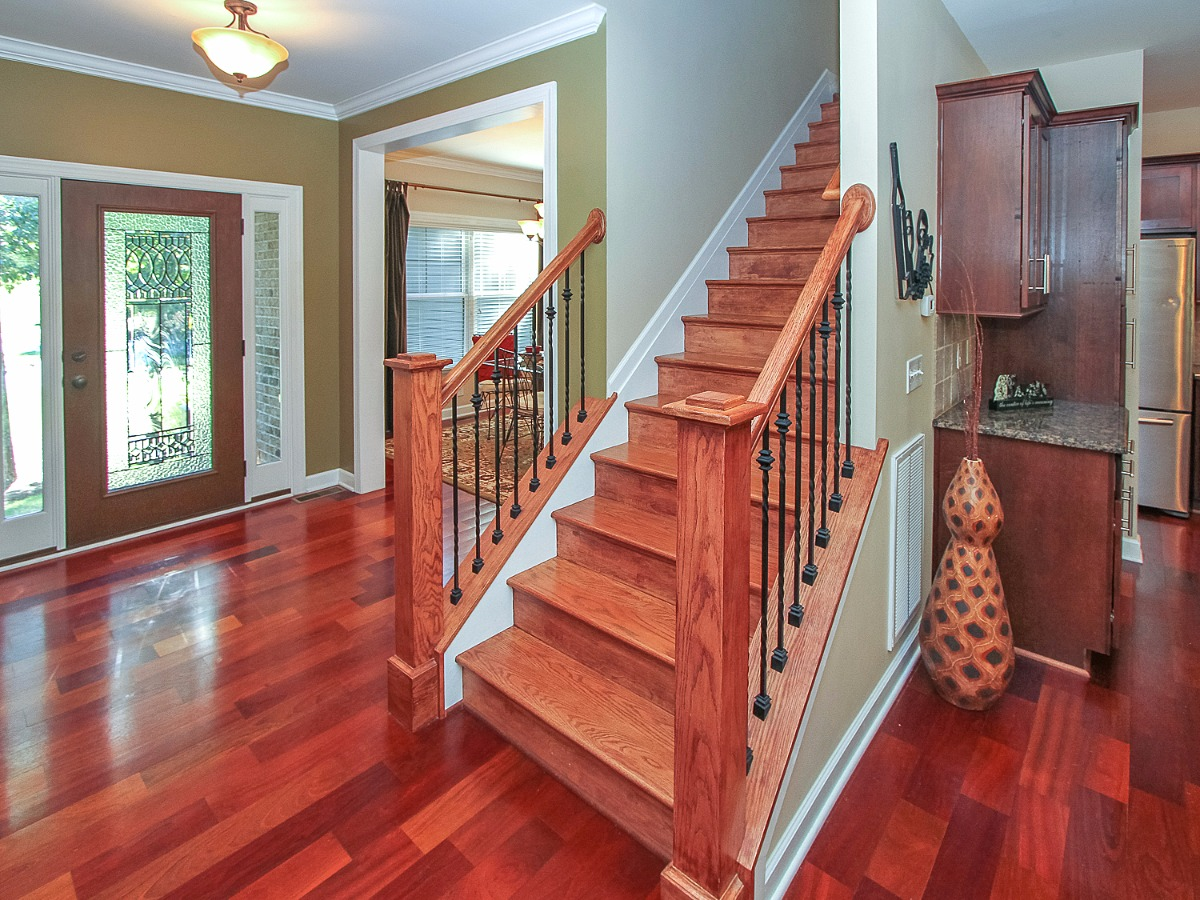 Hard wood floors, and stairs