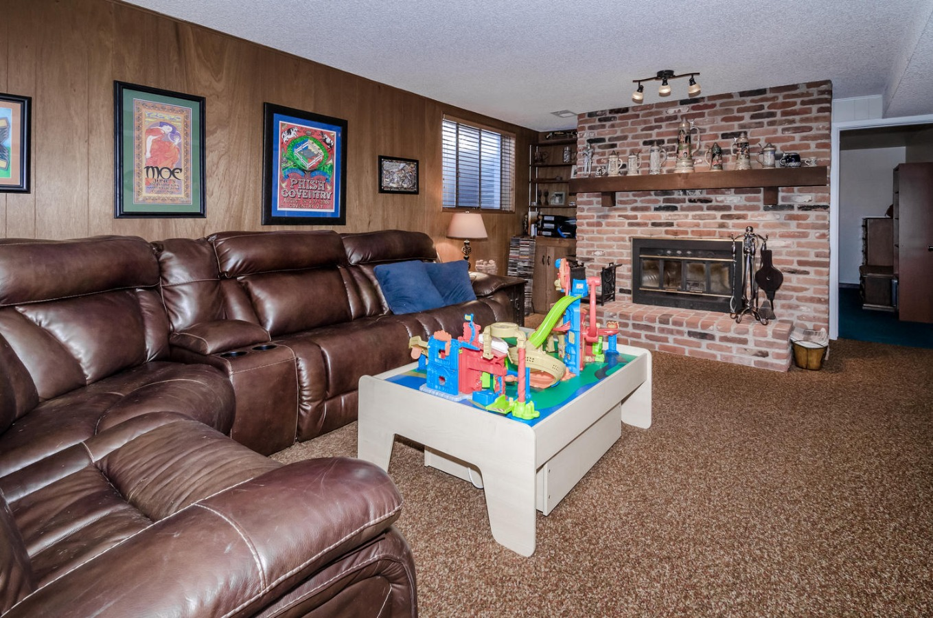 Large Family Room with Fireplace Downstairs
