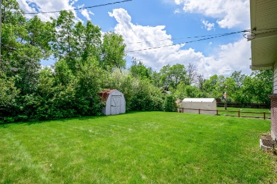 Storage Shed in Fenced Backyard
