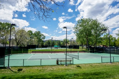 Community tennis courts across the street
