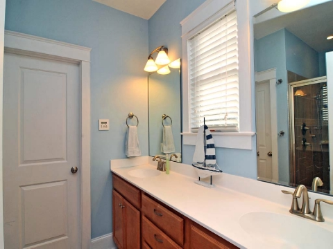 Master bath has large rain experience shower