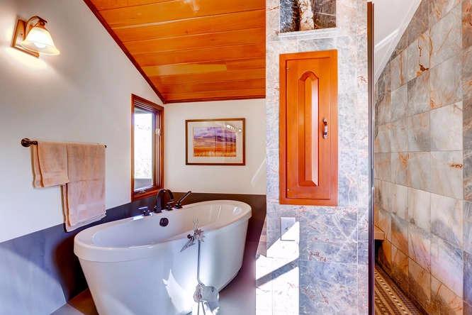 Modern large soaking tub