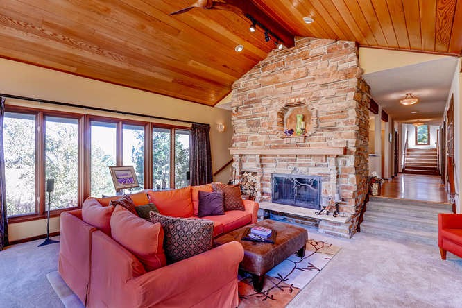 Wood fireplace in living area