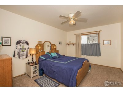 The large master suite has a big walk in closet