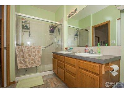 Double vanities & pocket door in the master bath