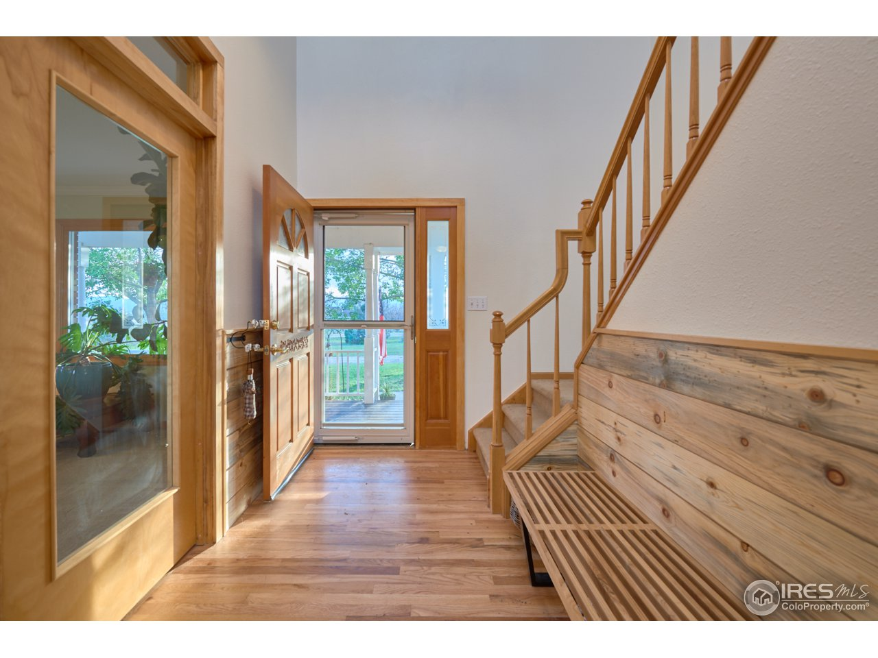 Large entry with wood accents