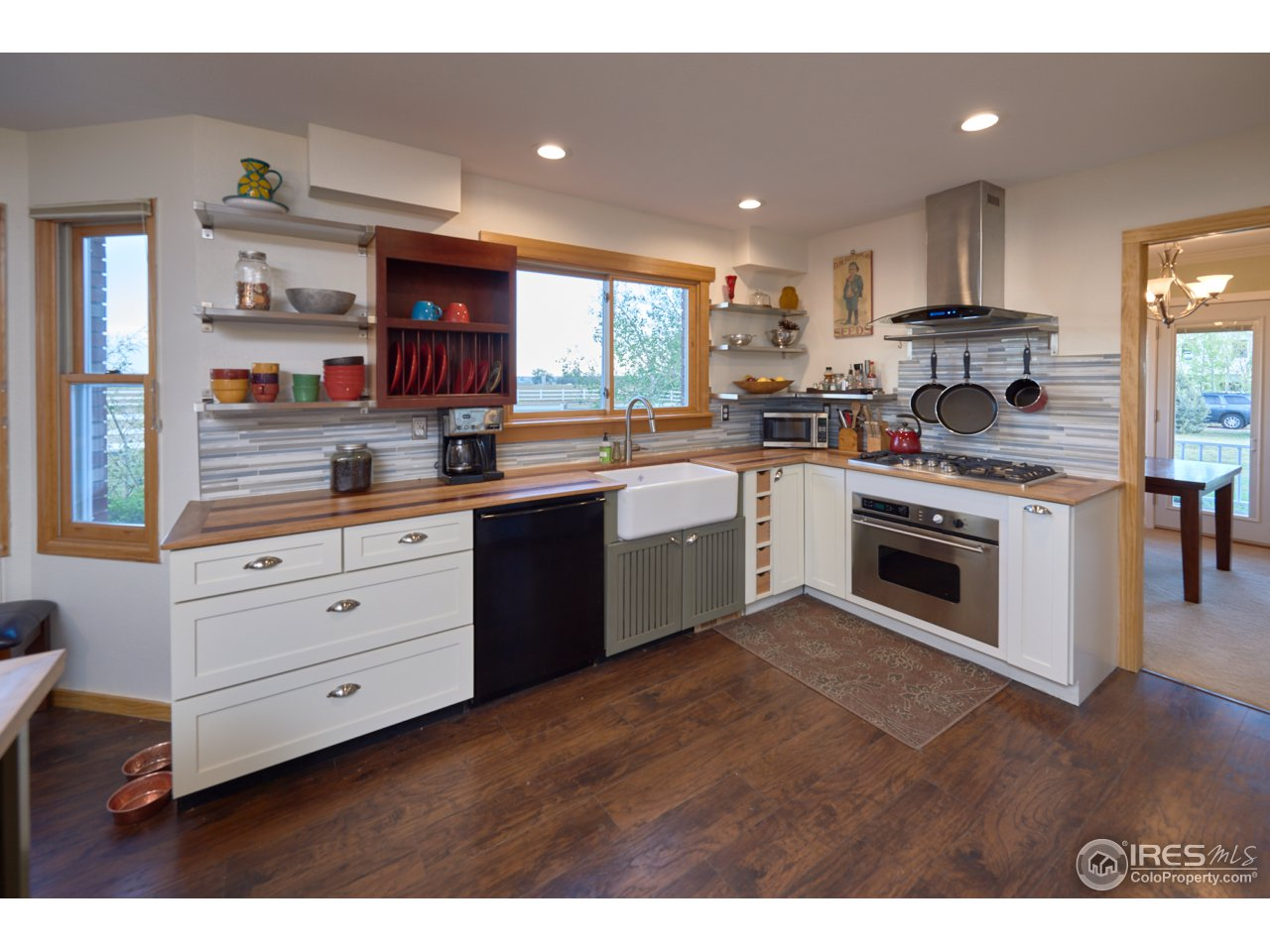 SS appliances and custom wood counter tops