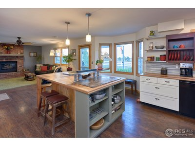 Custom built kitchen island w/ seating & storage