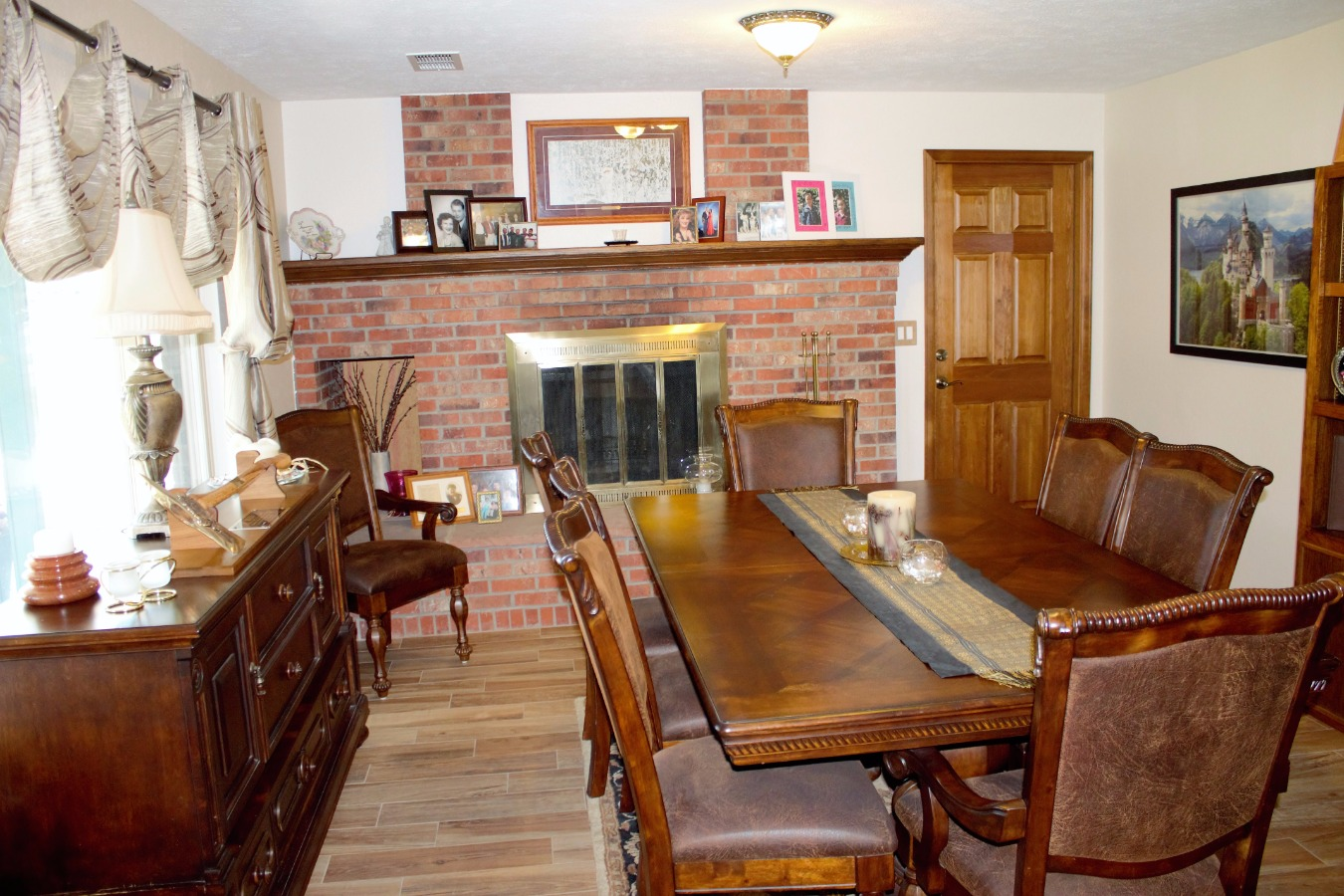 Dining Room w/ Wood Fireplace