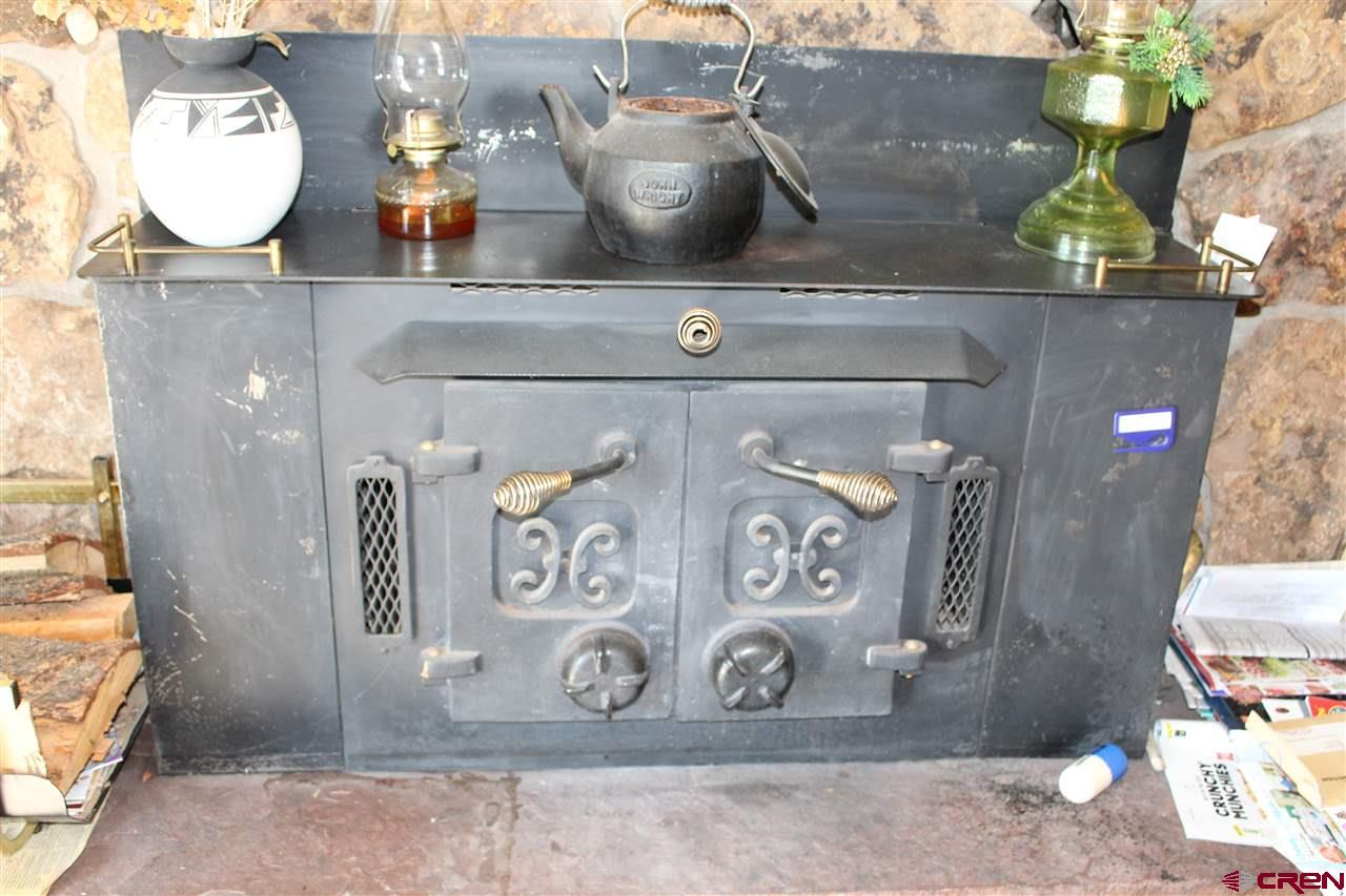 Wood stove located in living room