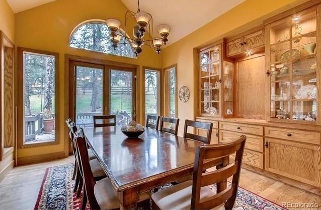 Dining room with built-ins*Open to patio for easy entertaining