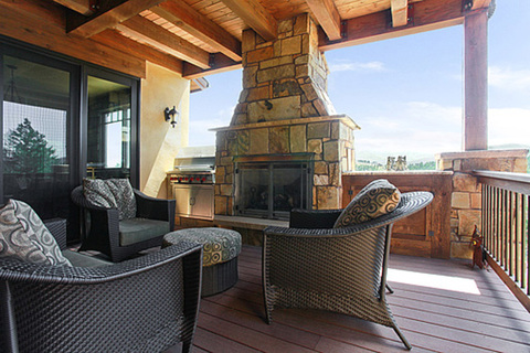 Beautiful outdoor living area with fireplace...