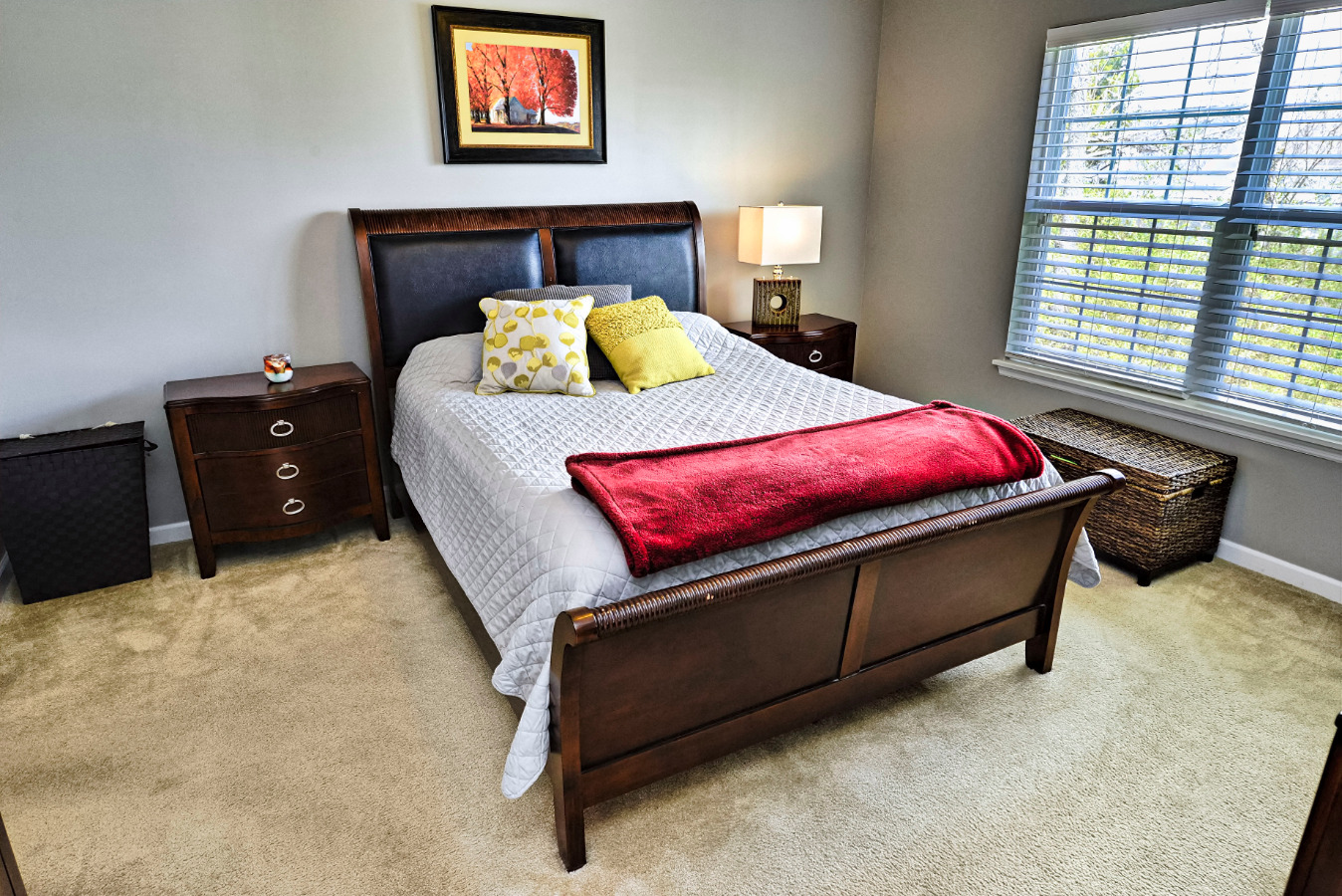 The master bedroom is conveniently located on the first floor.