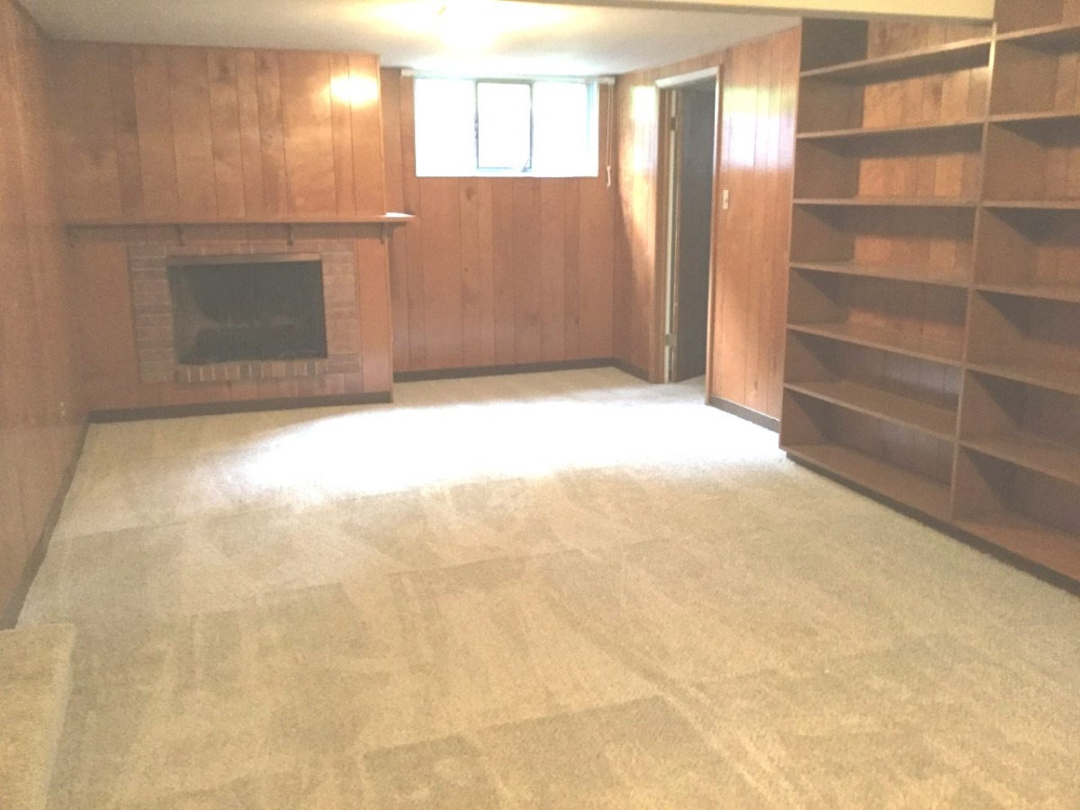 Basement Recreation Room has a nice fireplace