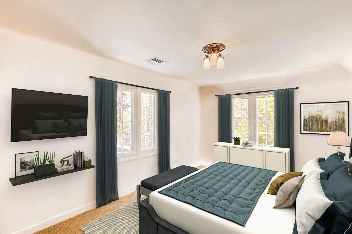 Virtually Staged - 3rd Bedroom with private Bath
