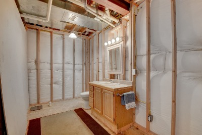 Partially finished bathroom in basement