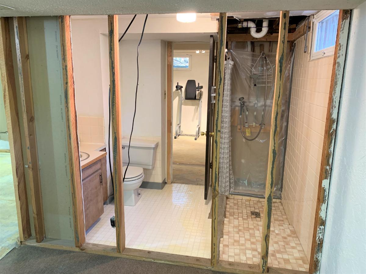 Plumbed Basement Bathroom with Shower