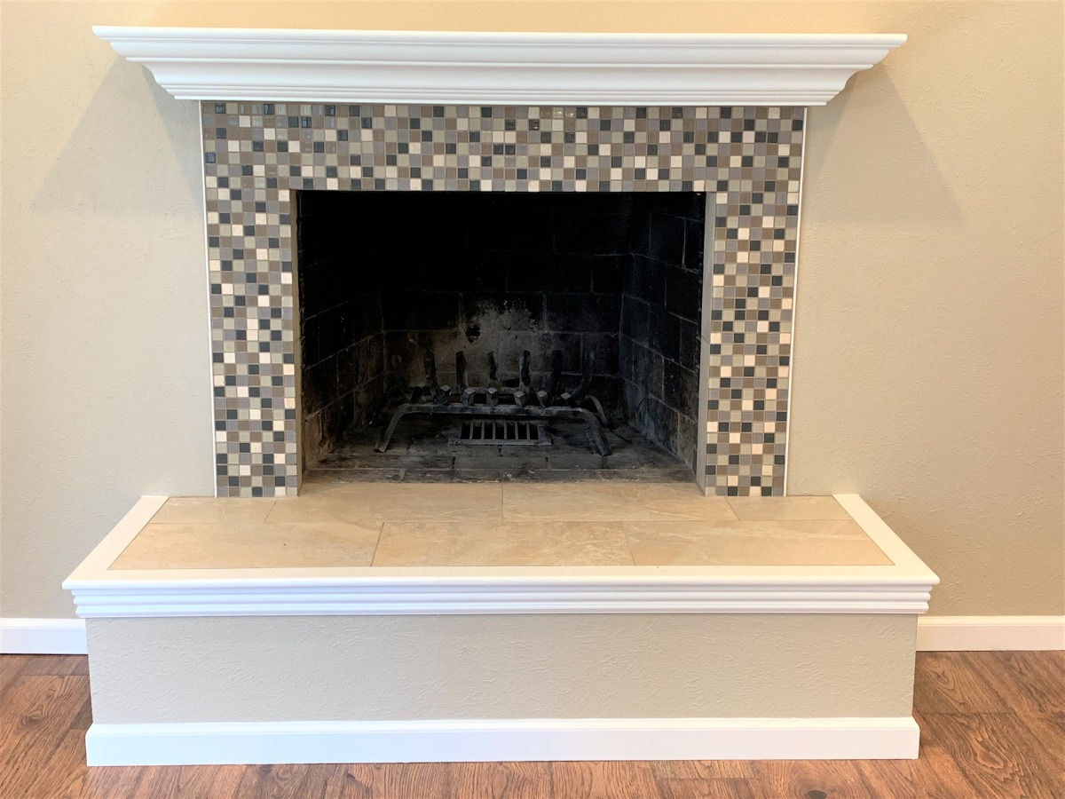 Wood Fireplace Set in Gorgeous Mantel