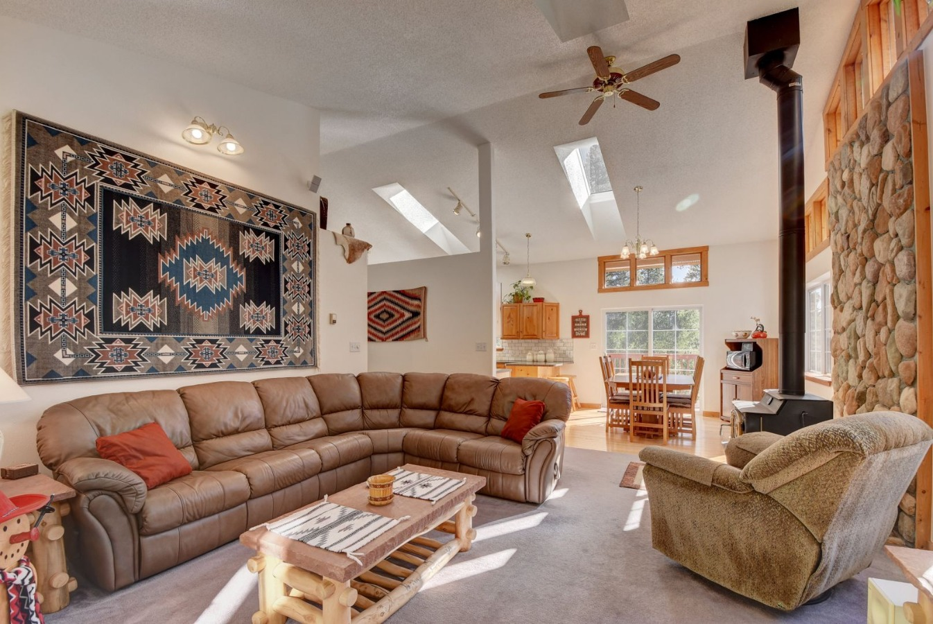 Cozy Living room has vaulted ceilings