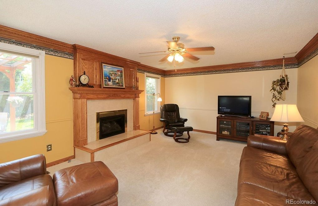 Gas fireplace, Wood mantle and more.