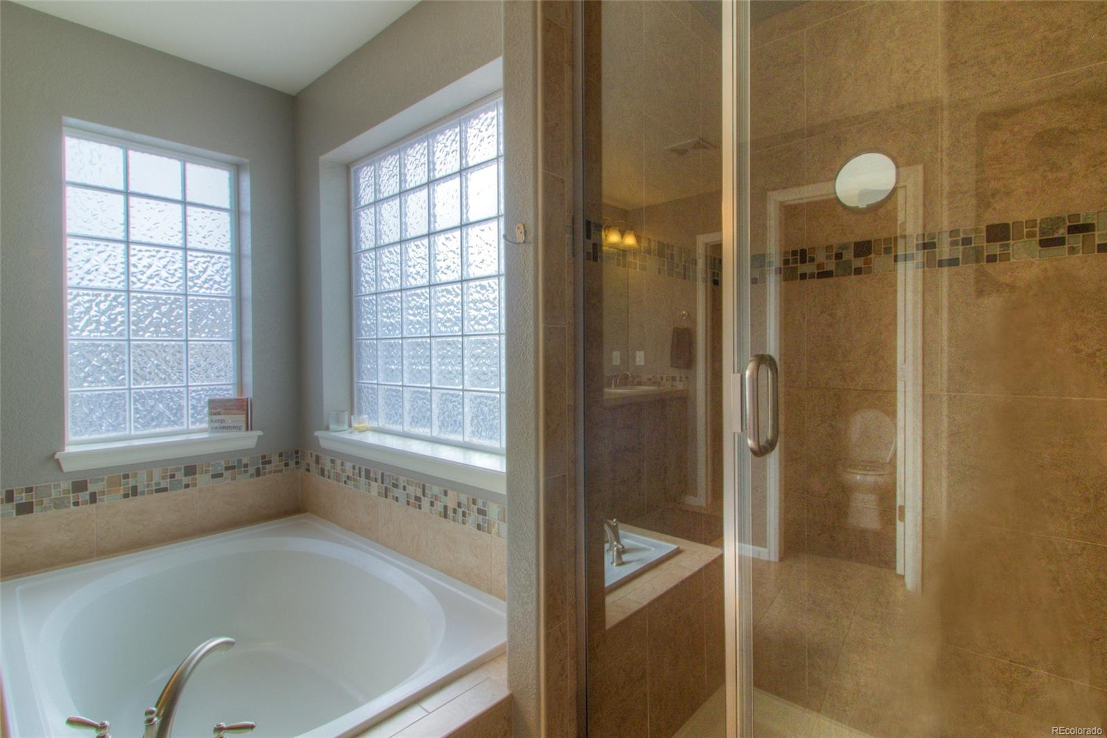 5 piece master bath with soaking tub and walk-in shower