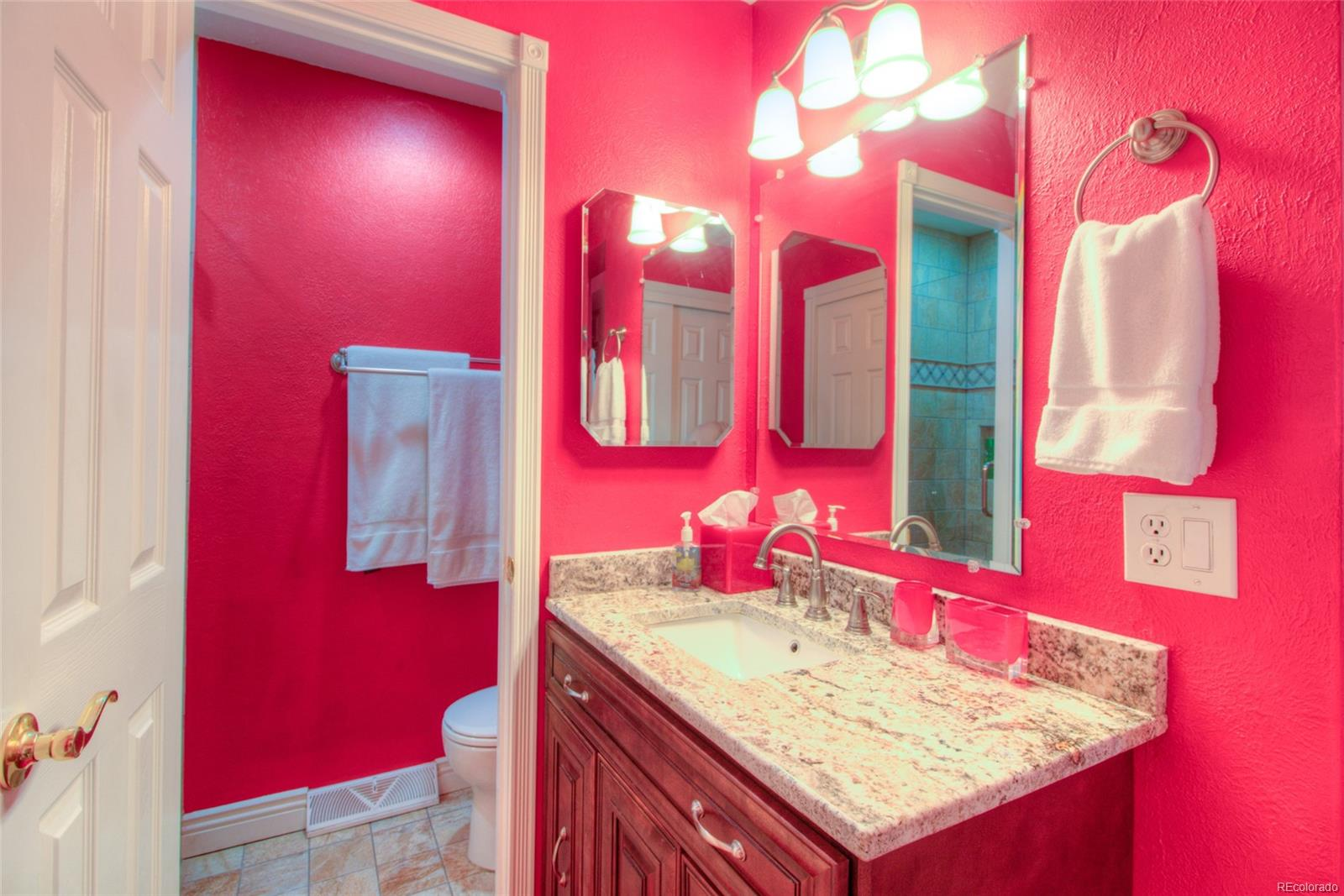 Remodeled Master Bathroom. Please don't let the paint color keep you from seeing this beautiful home.