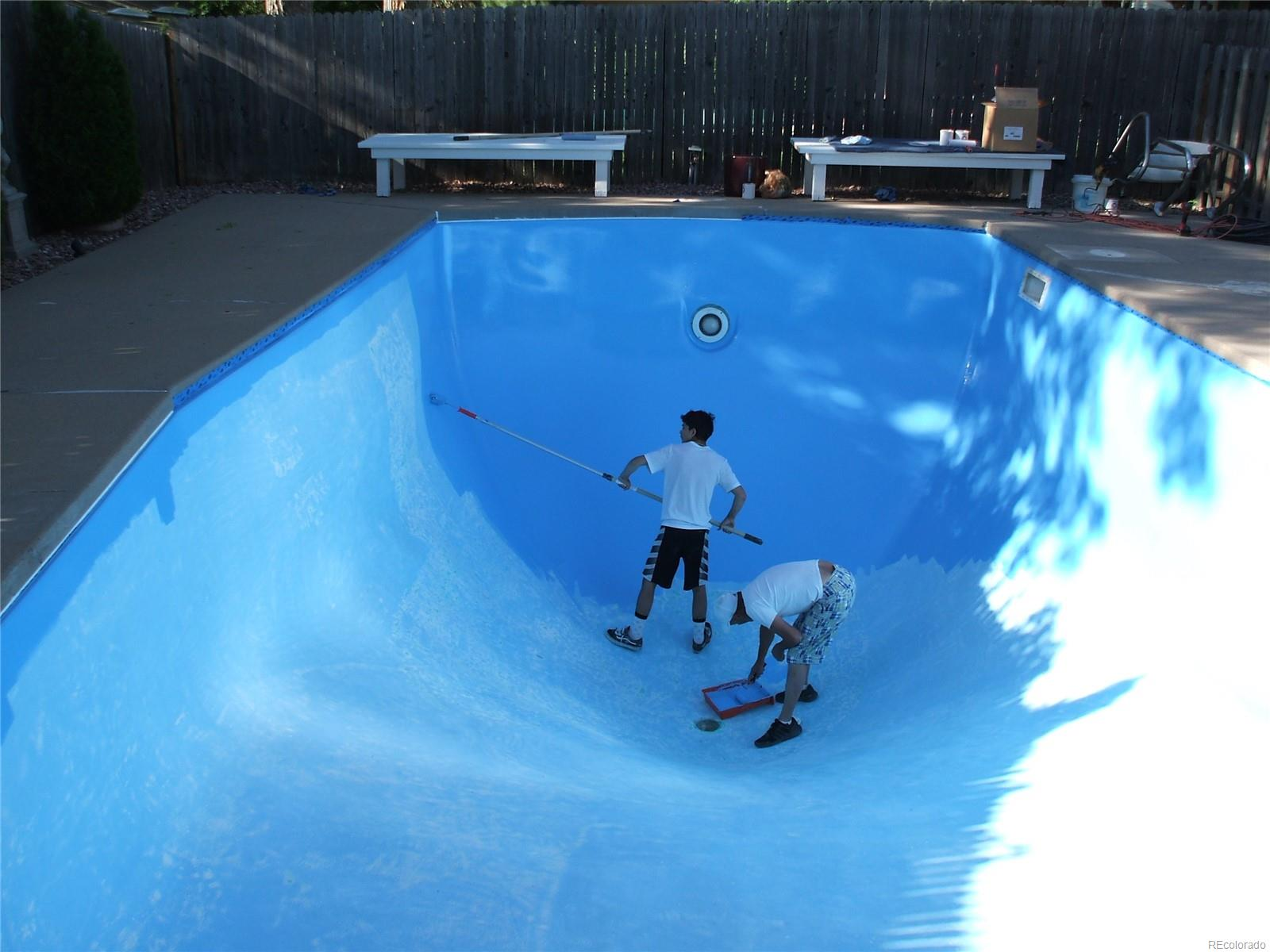 Photo of the pool being refinished last summer