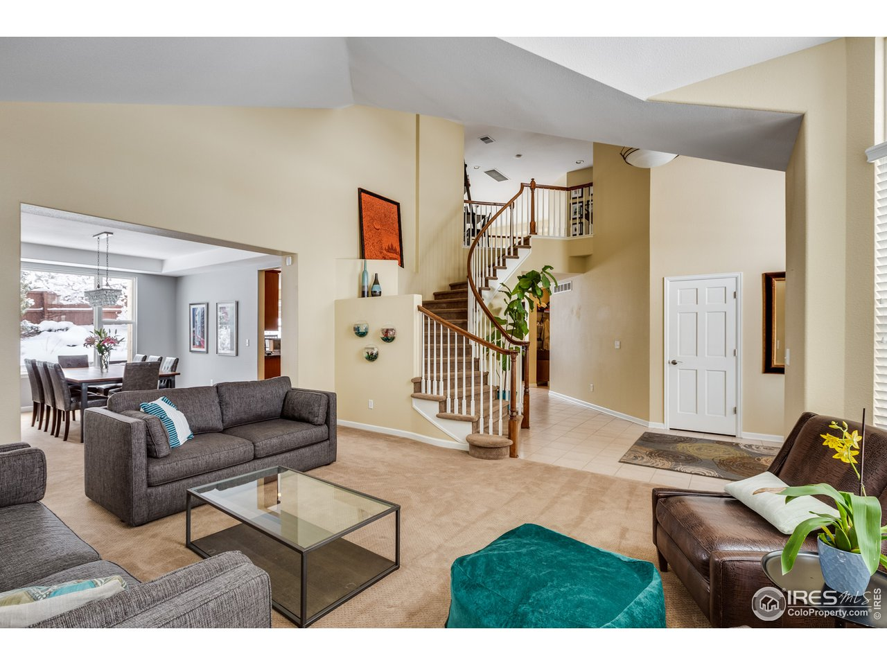 Living room opens to foyer