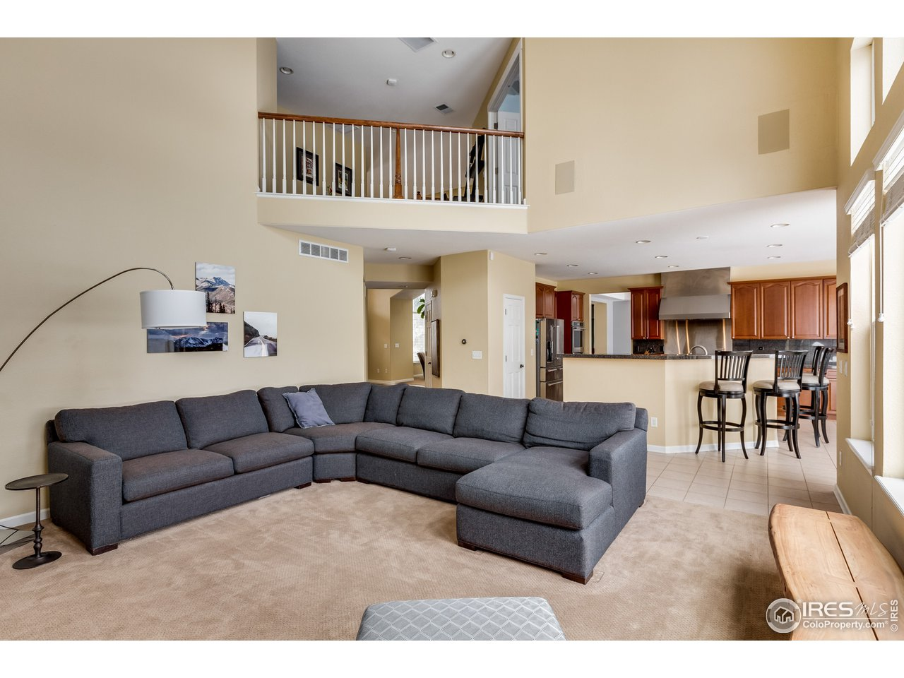 Tall ceilings in family room