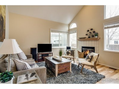 Family Room with Gas Fireplace and Vaulted Ceiling