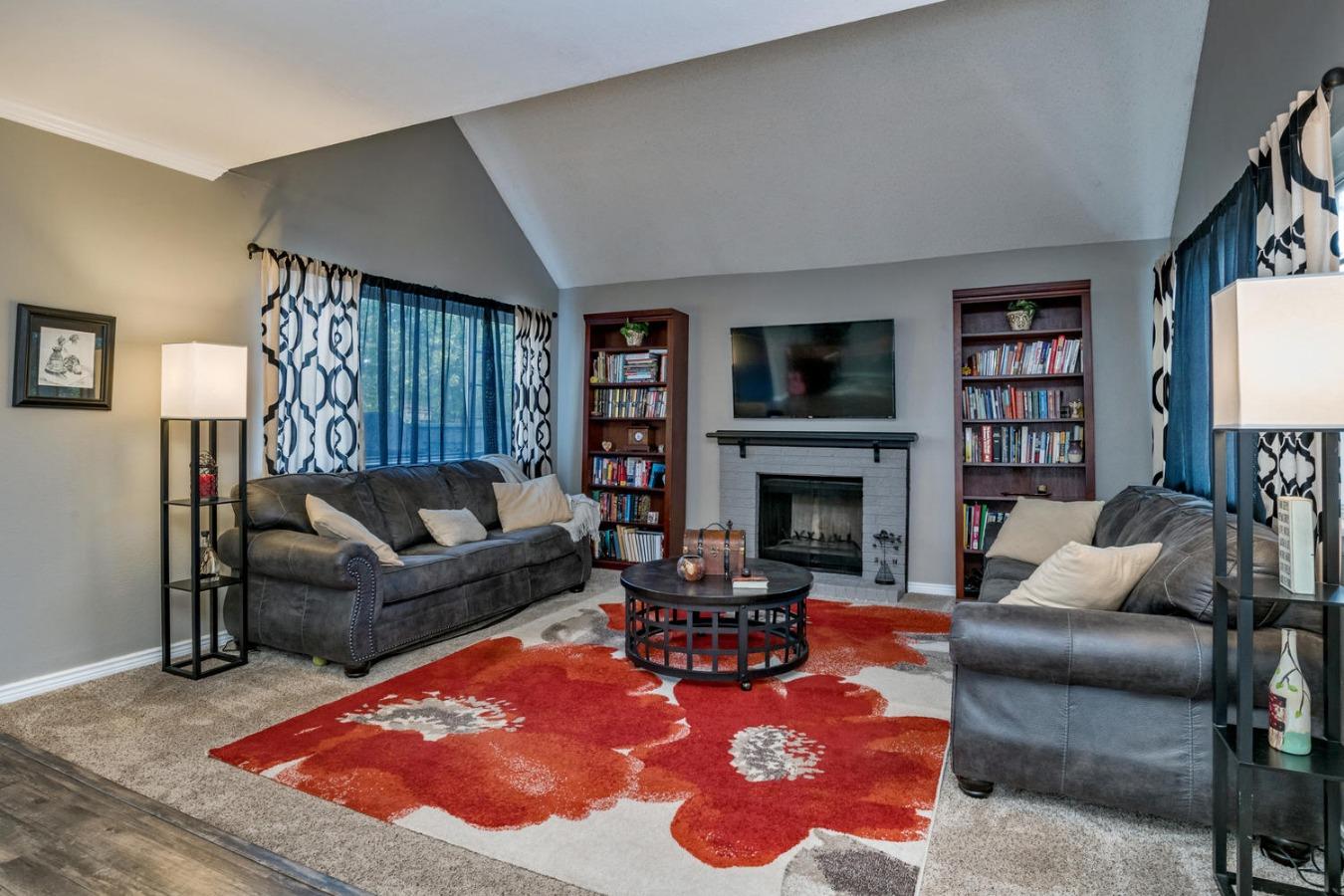 Open floor plan, newer carpet