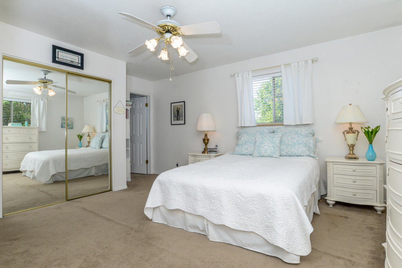 Master Bedroom Features Two Closets + Ceiling Fan