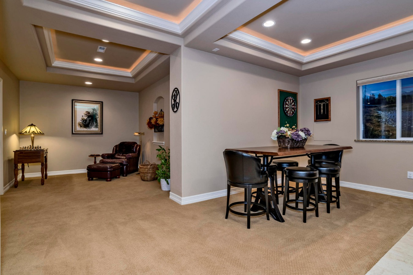 Great Game Table and Retreat Spaces in Basement