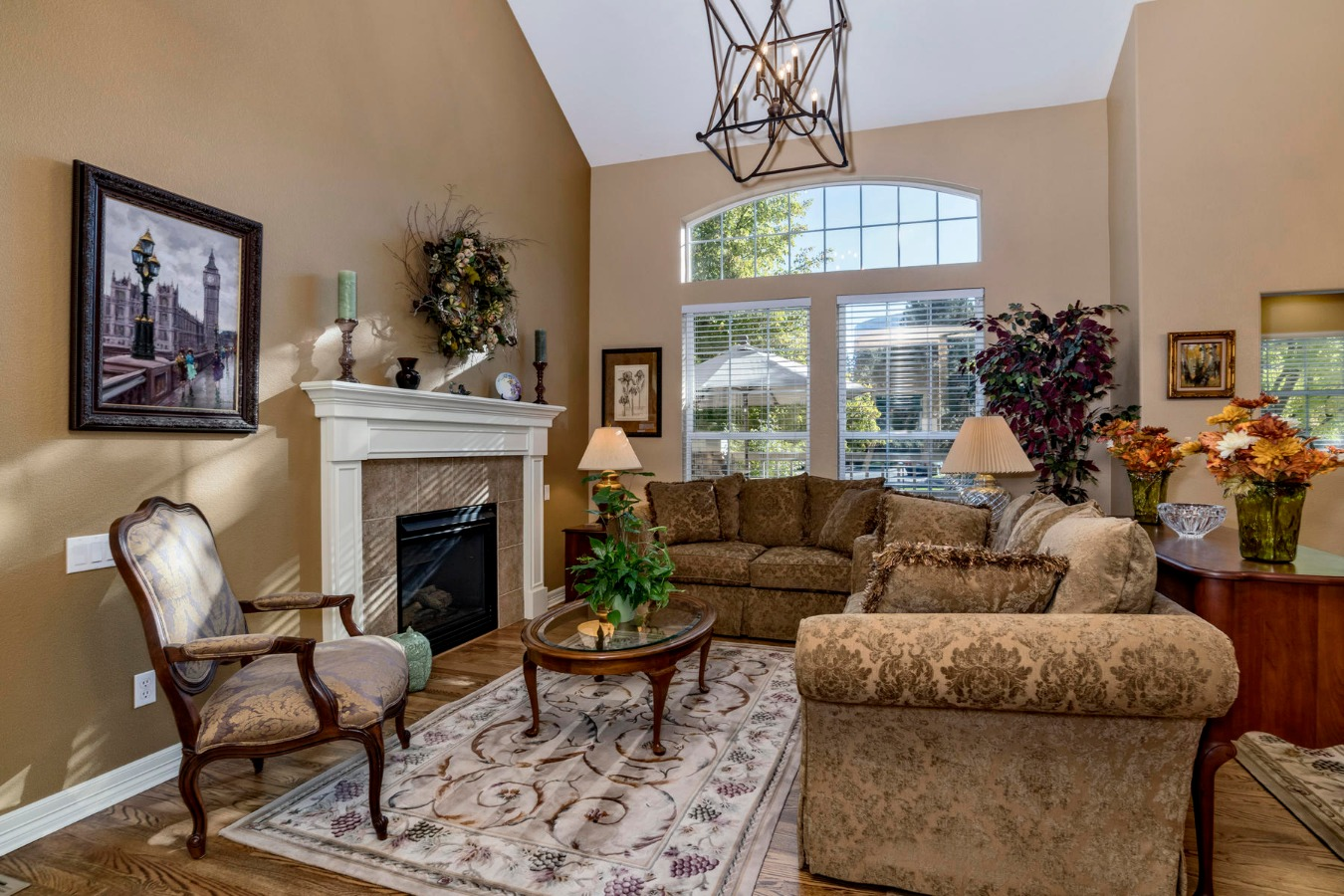 Open Vaulted Living Room with Gas Fireplace