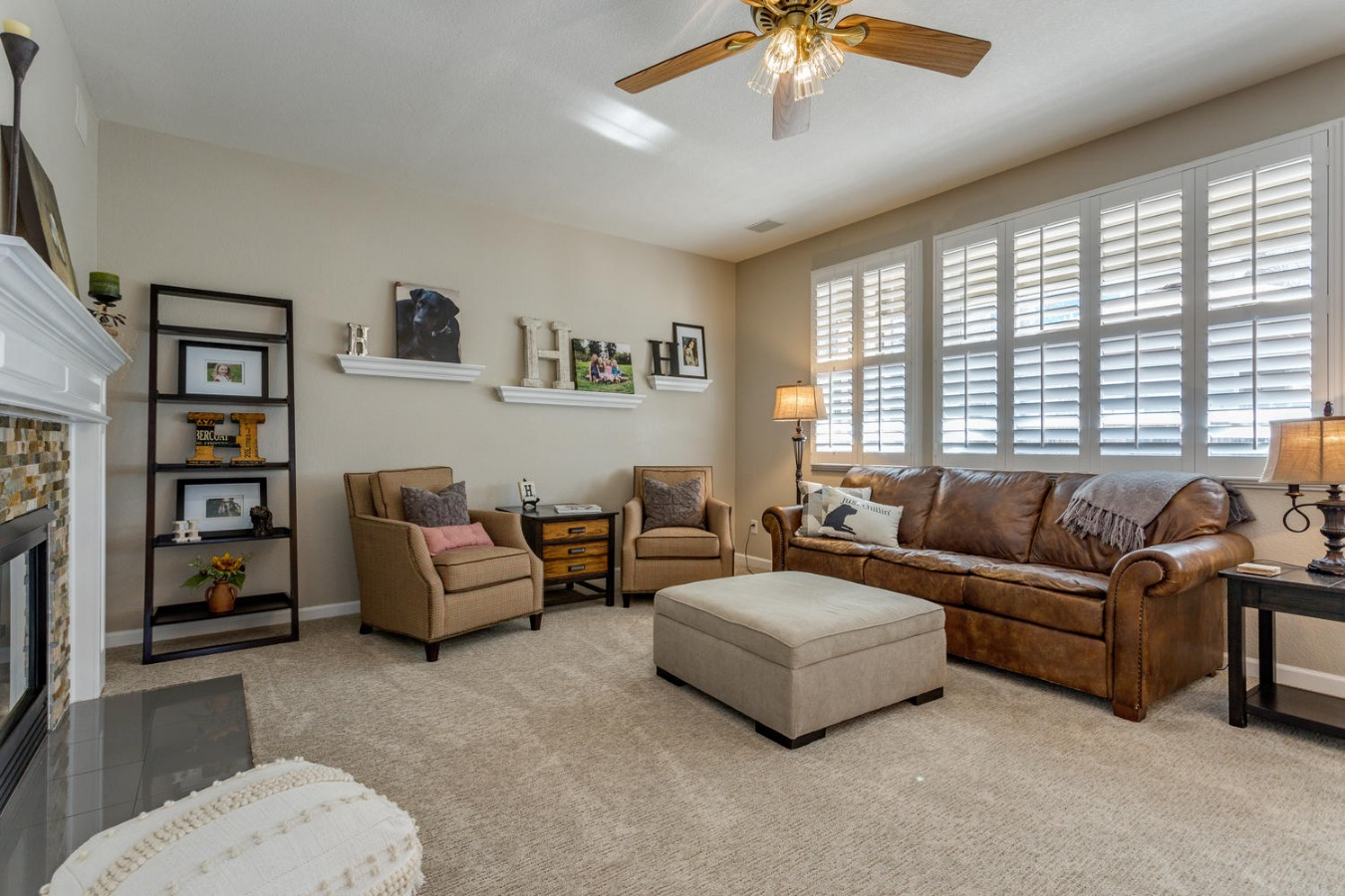 Gas Fireplace & Plantation Shutters Here, Too!