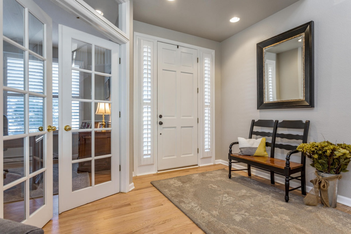 Study with French Doors at Hardwood Entry