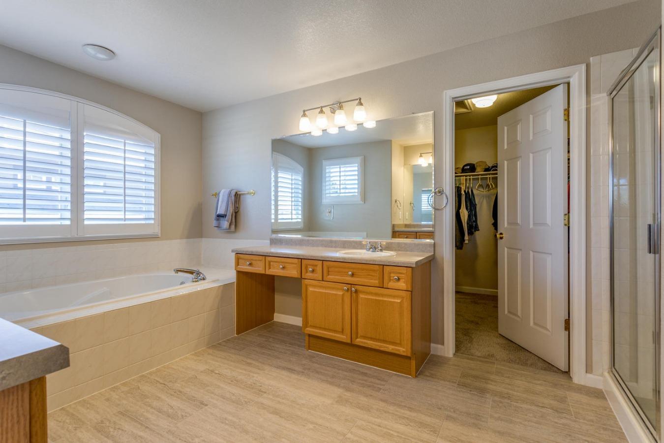 Large 5-pc Master Bath & Walk-in Closet
