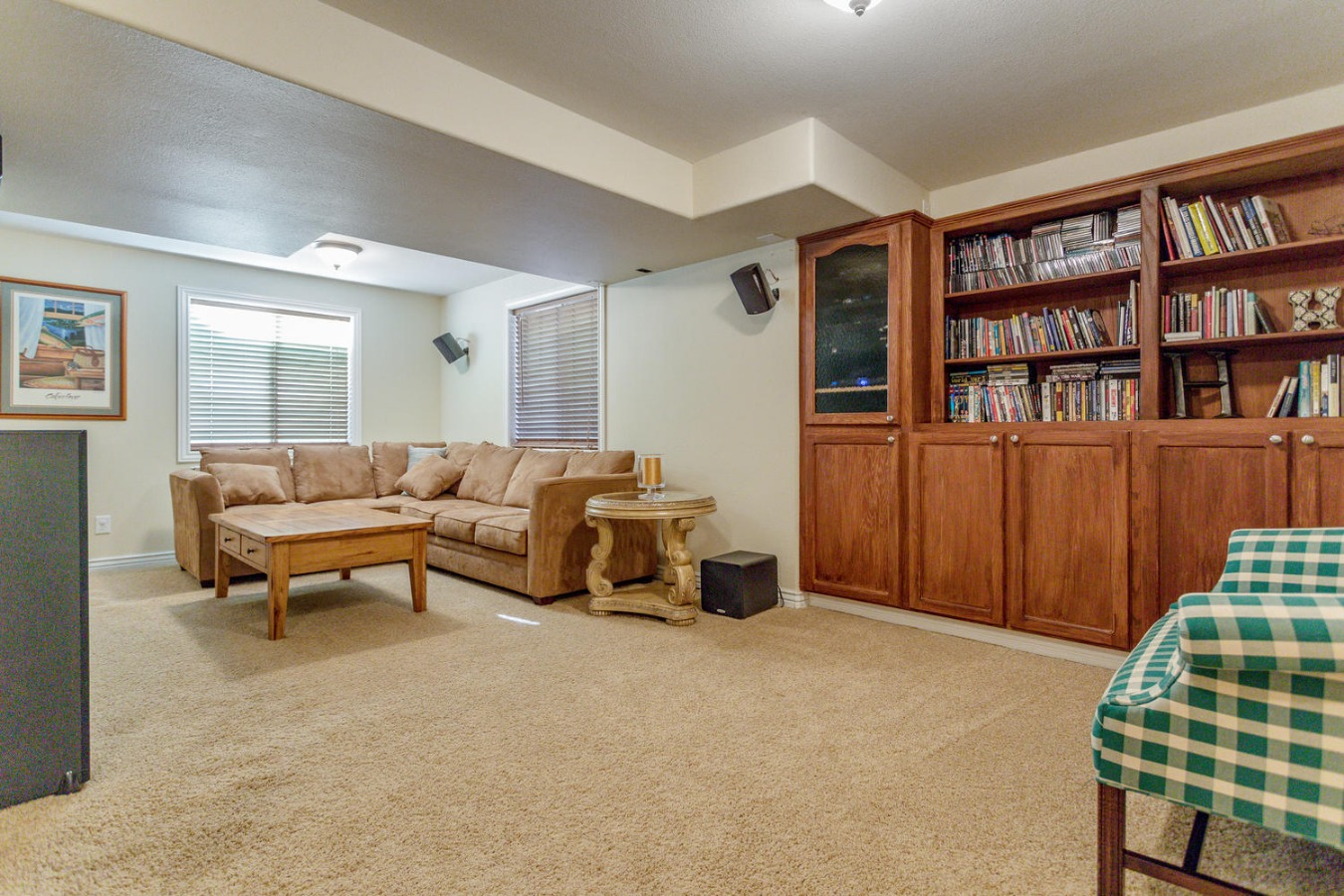 Finished Basement with Home Theater & Storage