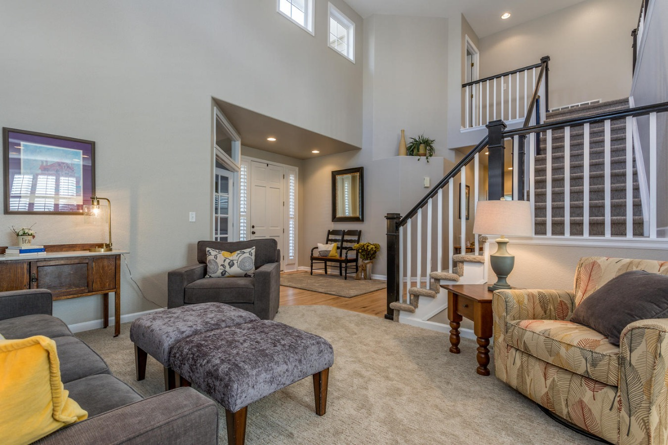 Two Story Open Vaults in Living Room
