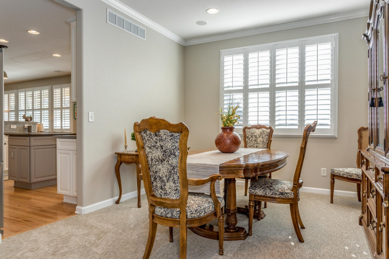 Crown Molding & Built-in Speakers in Dining Room