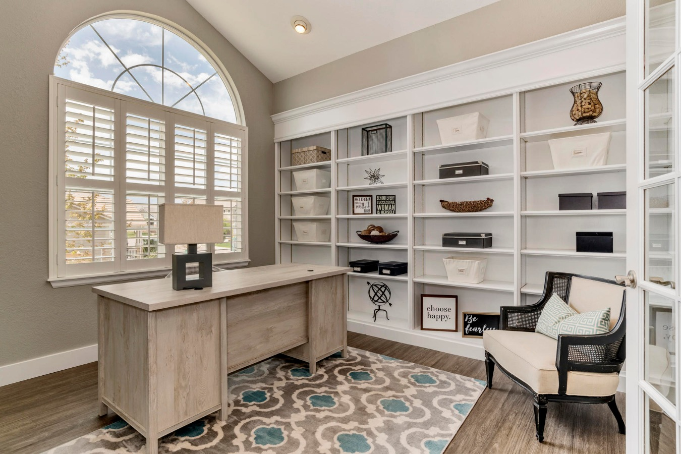 Main Floor Study with French Doors & Bookcases