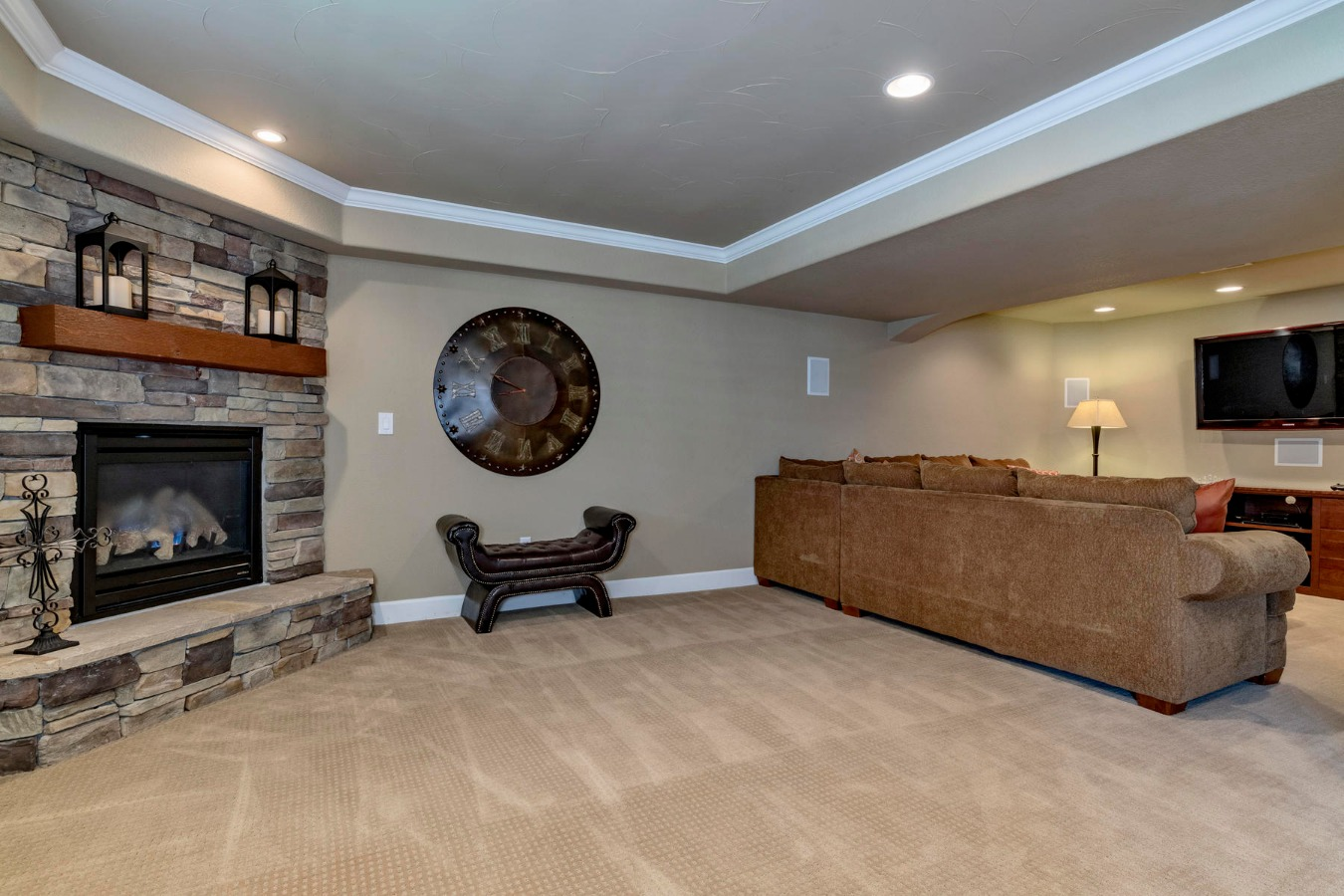 Stacked Stone Gas Fireplace Makes the Rec Room Fun