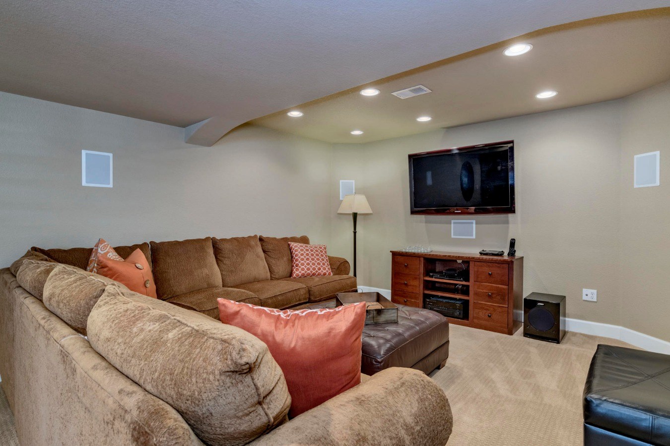 Home Theater Space with In-Wall Surround Speakers