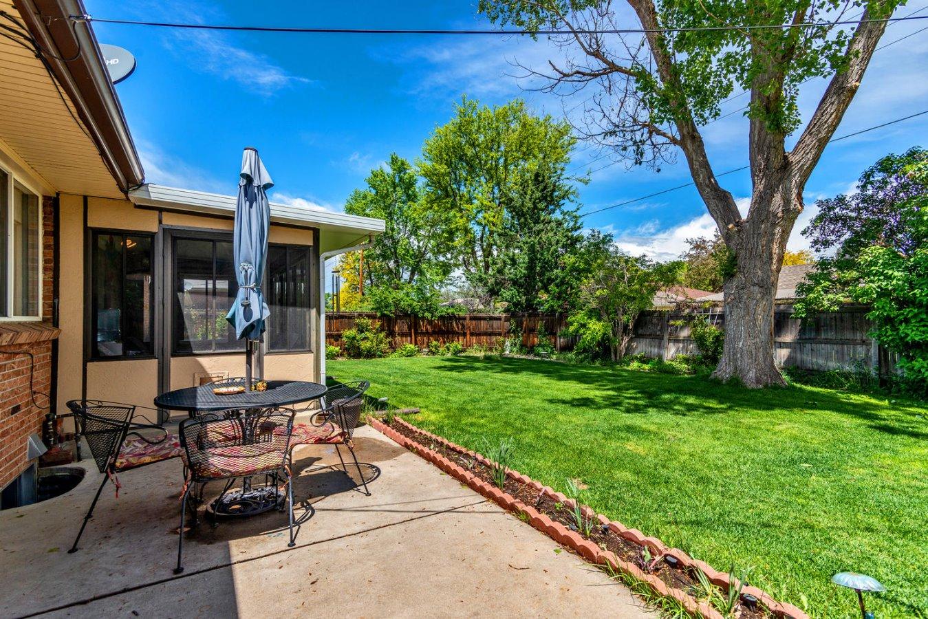 Large Patio +  Fenced Back Yard
