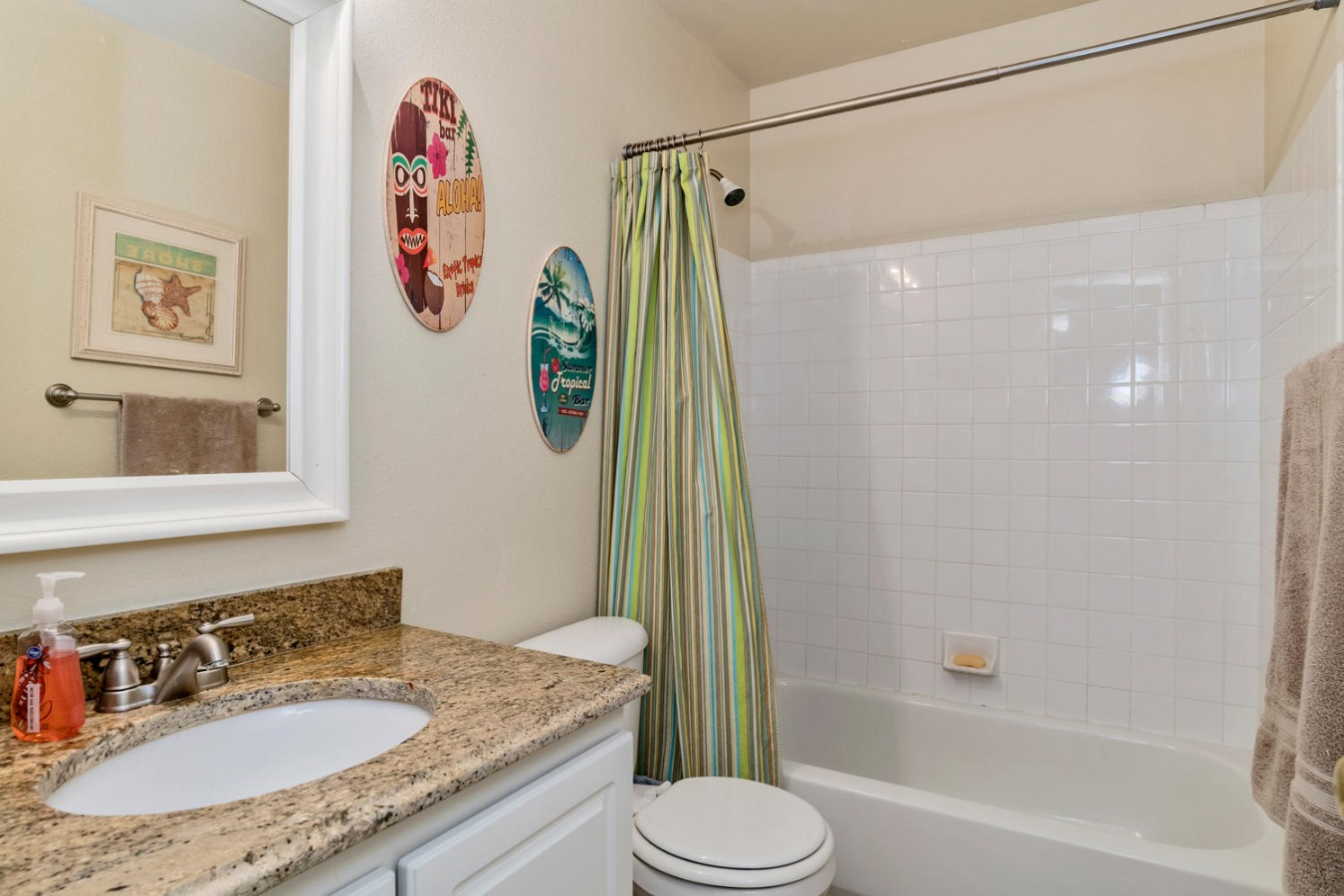 Hall Bath for Secondary Bedrooms Has Granite